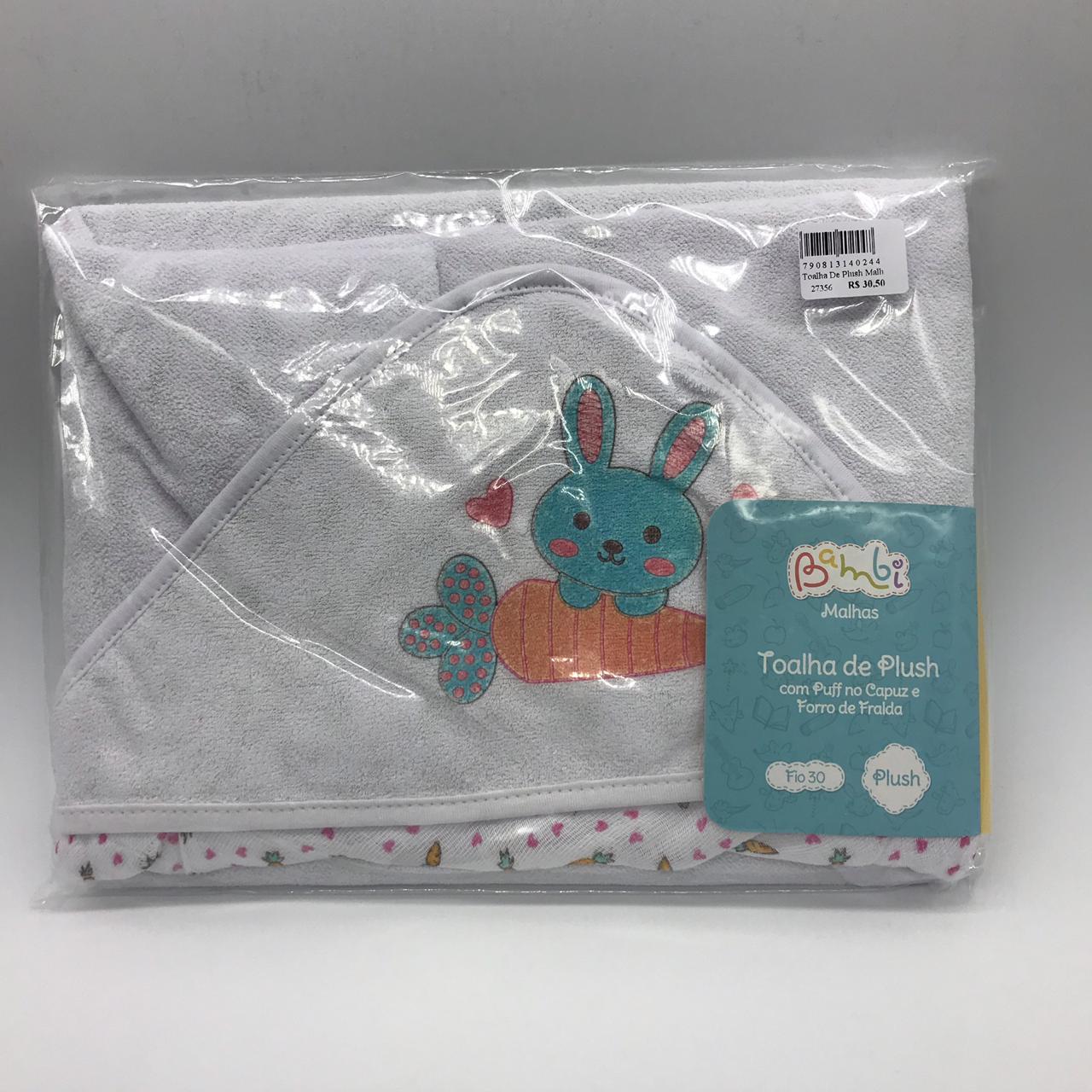 Toalha de Plush Malha Capuz Coelha - Bambi Incomfral Ref 10017
