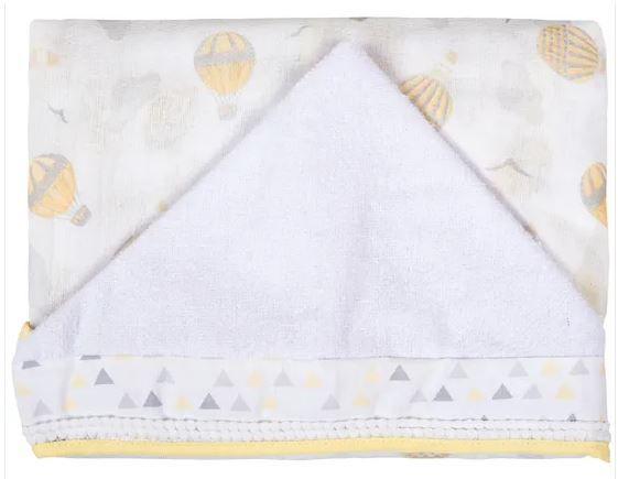 Toalha Fralda Com Capuz Supreme Balão Amarelo - Baby Joy Incomfral Ref 04143320010003
