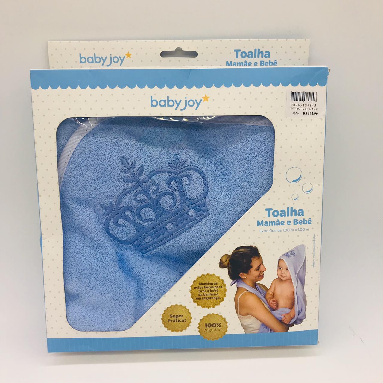 Toalha Mamãe e Bebê Extra Grande Azul - Baby Joy Incomfral Ref 04043311010001