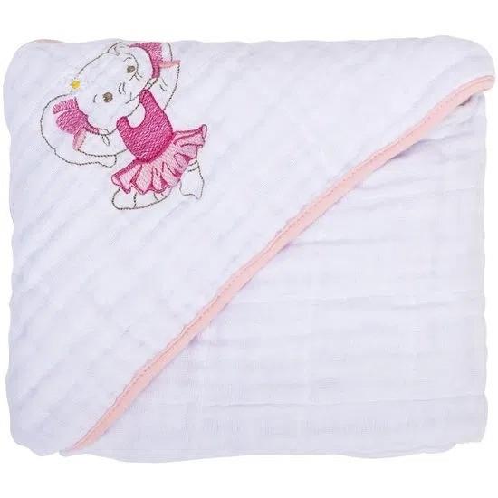 Toalha Soft Bordada Com Capuz De Canto Elefante Bailarina - Bambi