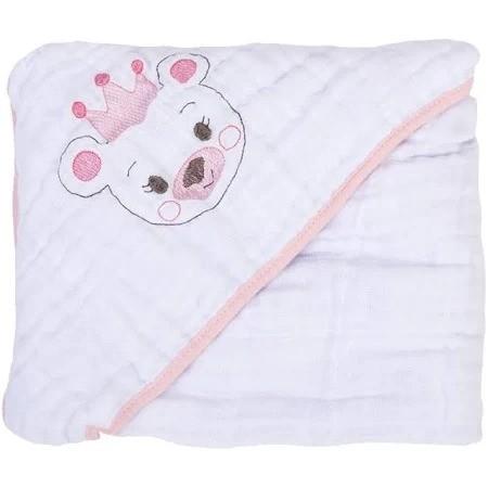 Toalha Soft Bordada Com Capuz De Canto Ursa Princesa - Bambi