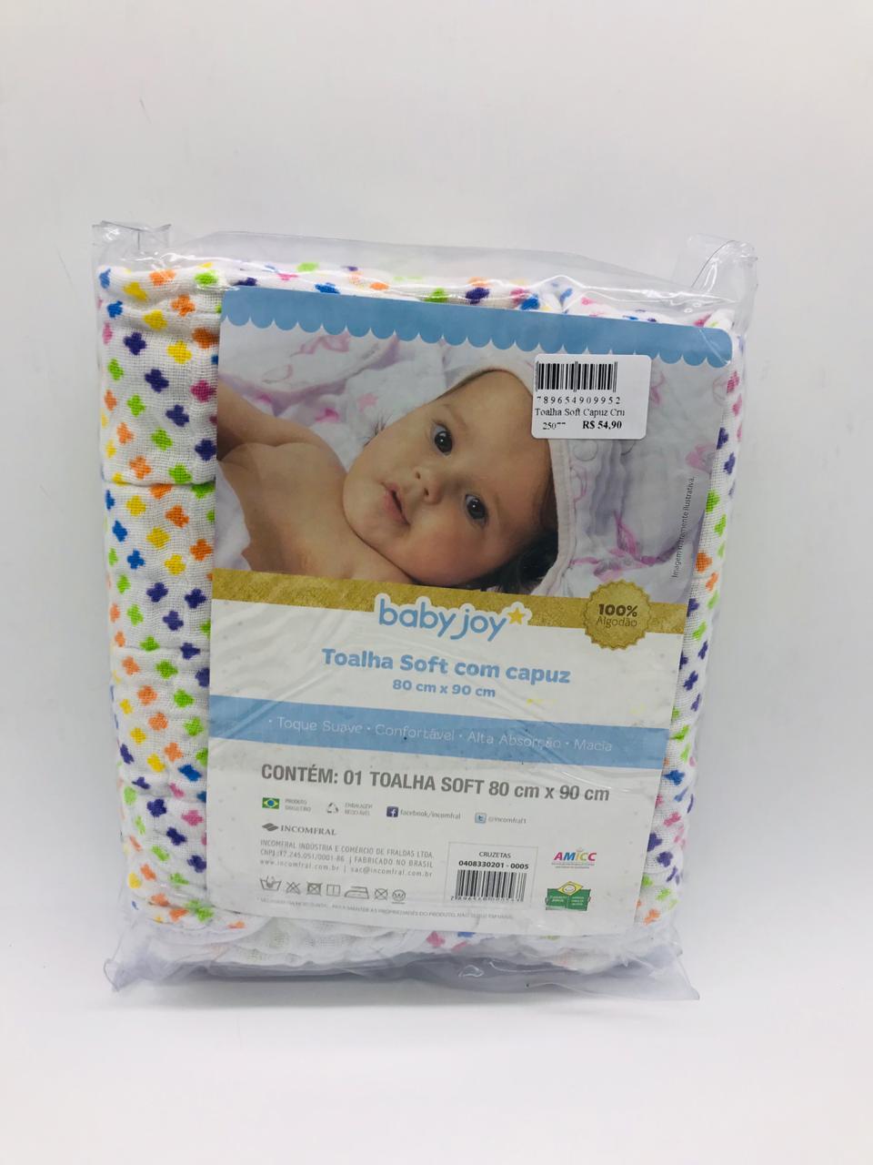 Toalha Soft Capuz Cruzetas - Baby Joy Incomfral Ref 04083302010005