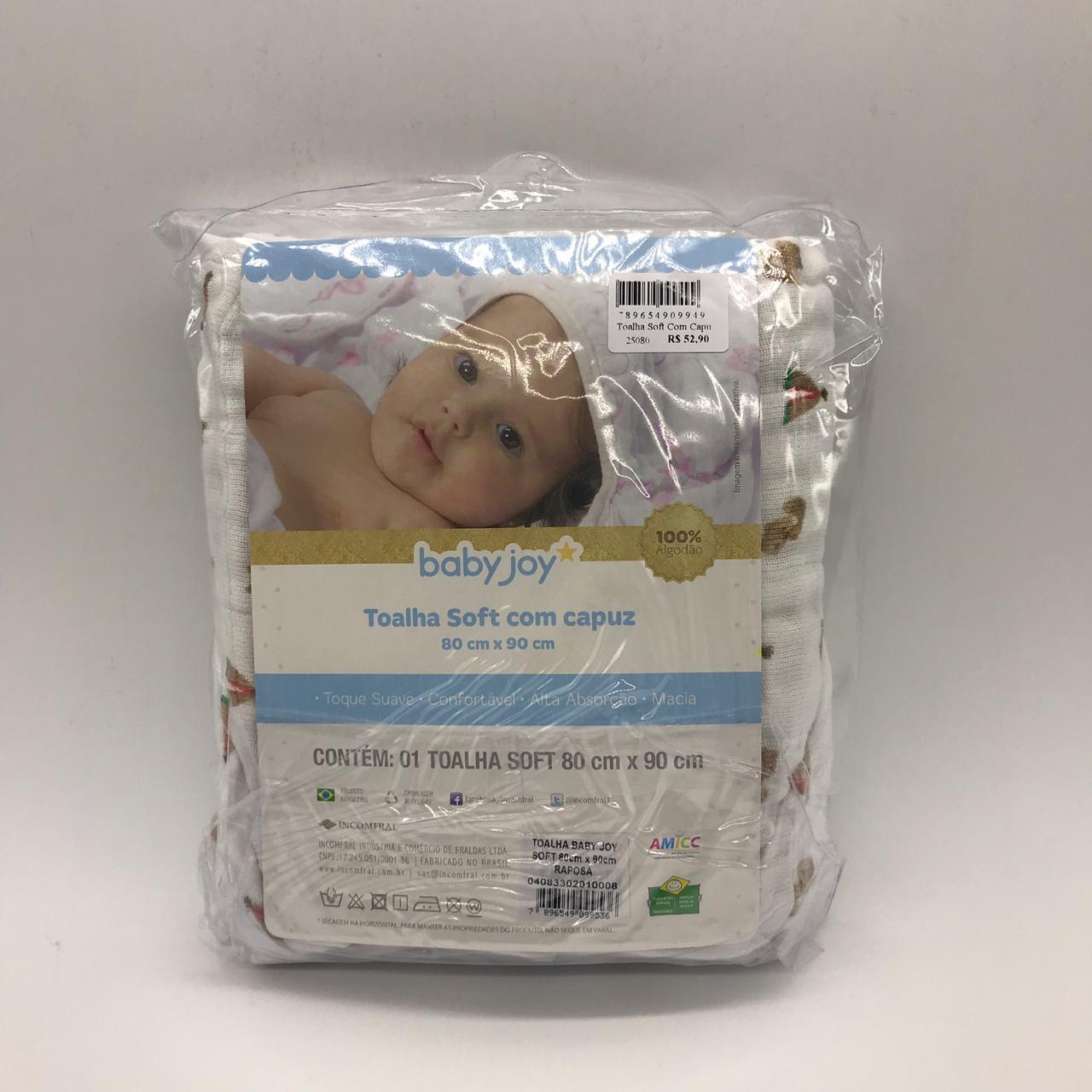 Toalha Soft Capuz Raposa - Baby Joy Incomfral Ref 04083302010008