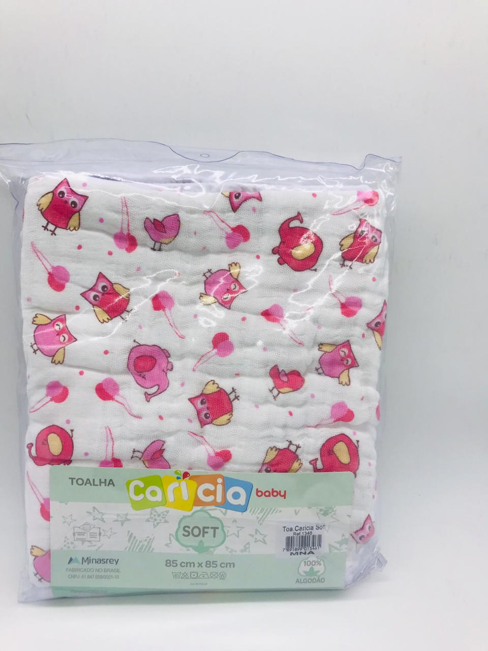 Toalha Soft Caricia Baby Rosa Coruja - Minasrey Ref 1346
