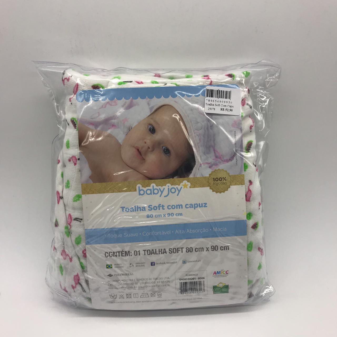 Toalha Soft Com Capuz Flamingo - Baby Joy Incomfral Ref 04083302010006