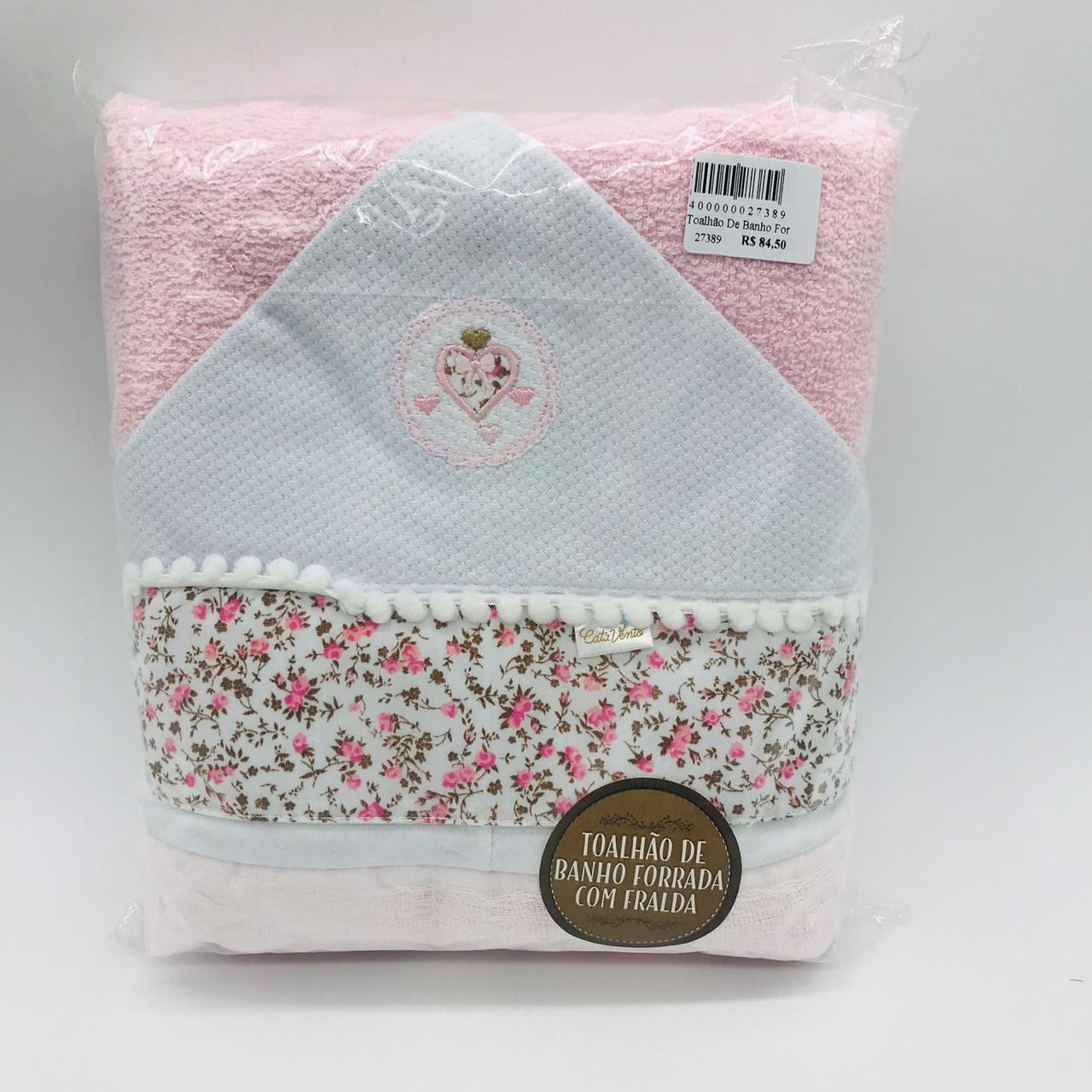 Toalhão de Banho Forrada Fralda Floral Pompom - Catavento Ref 504