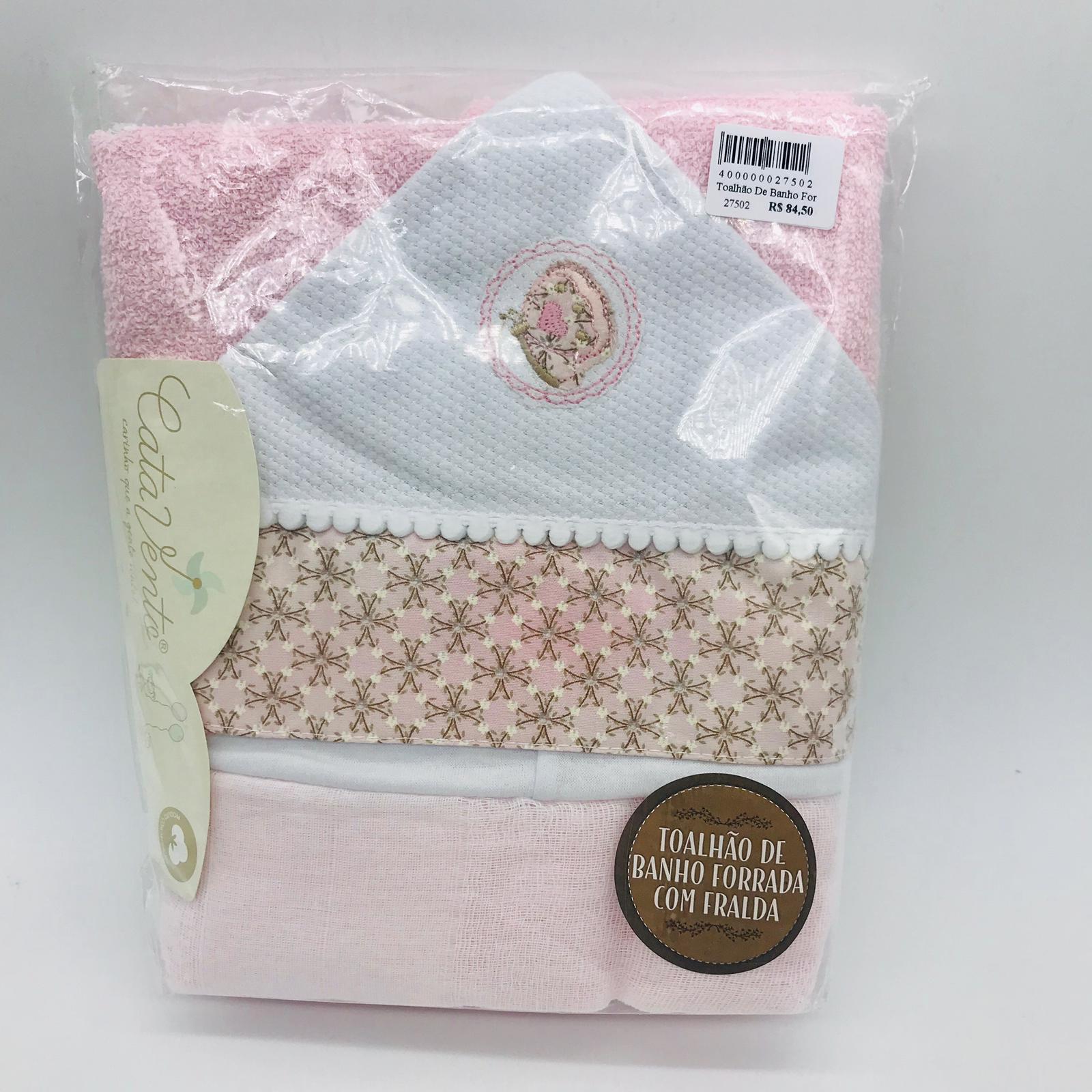 Toalhão de Banho Forrada Fralda Requinte Borboleta Rosa - Cata Vento Ref 255