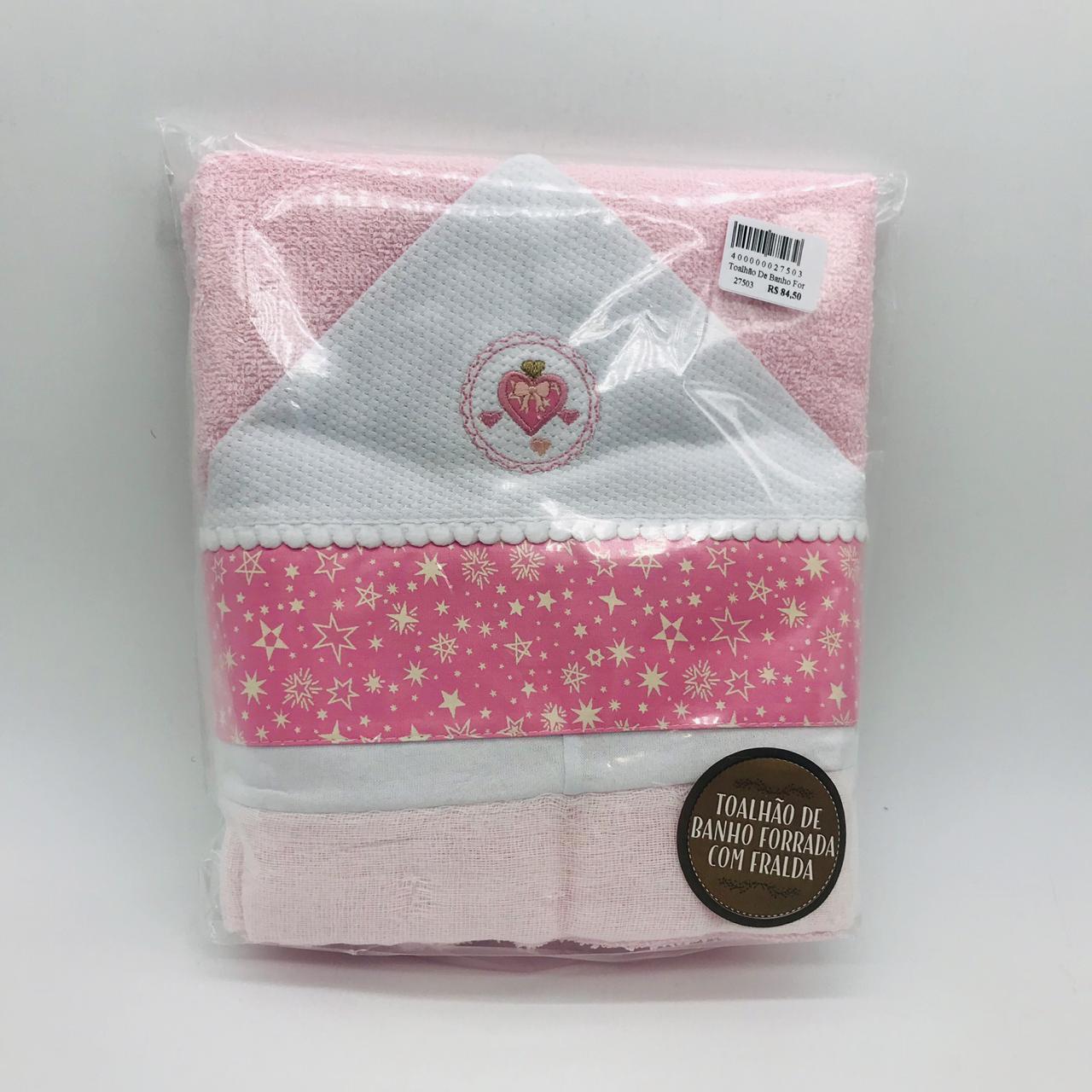Toalhão de Banho Forrada Fralda Requinte Coração Laço Rosa - Cata Vento Ref 255
