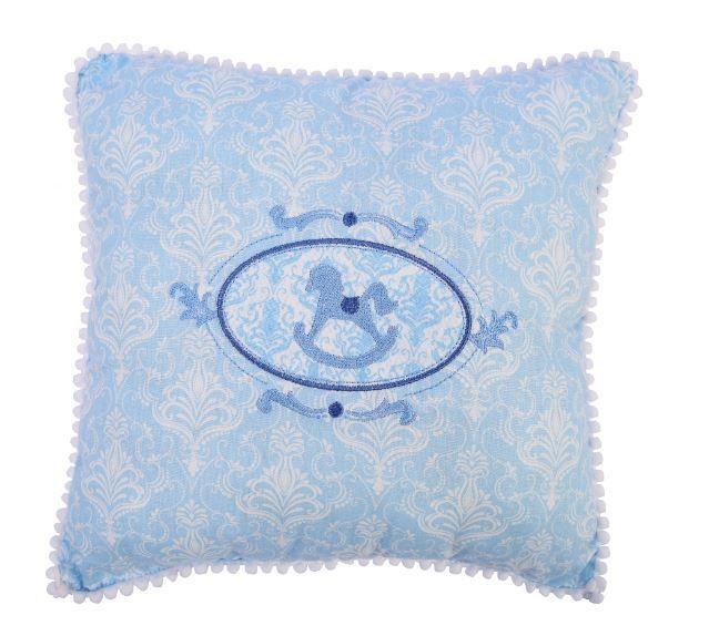 Travesseiro 30x30 Cavalinho Azul Pompom - m Mimo Minasrey Ref 5540