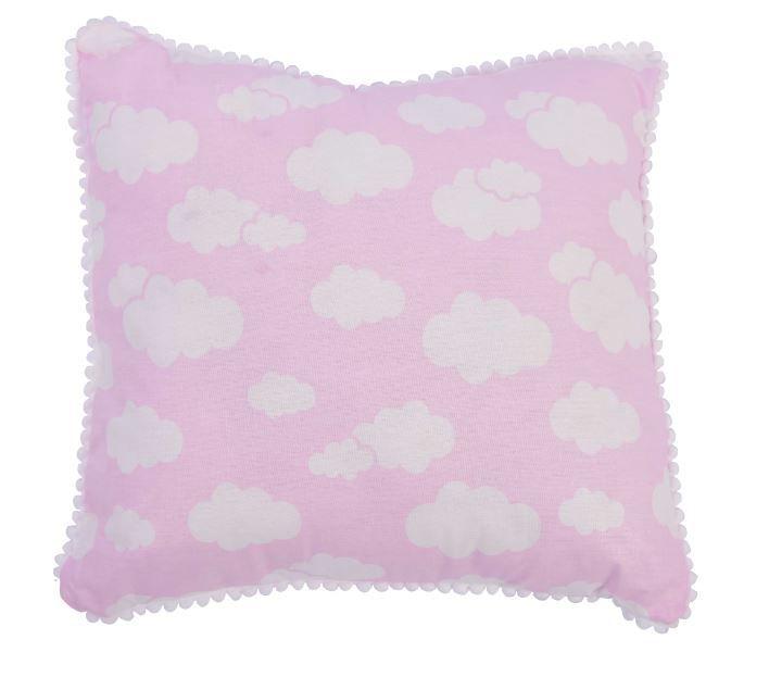 Travesseiro 30x30 Nuvem Rosa Pompom - Alvinha Minasrey Ref 5829
