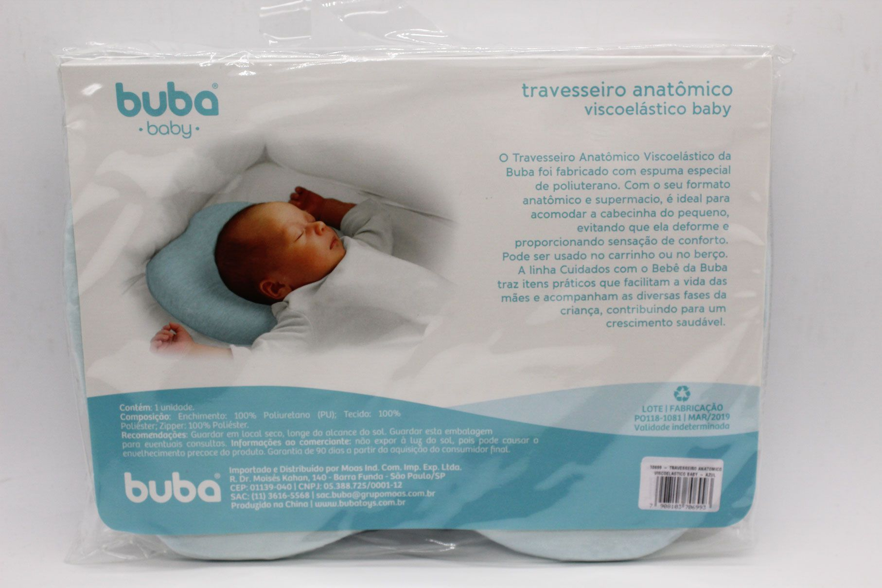 Travesseiro Anatômico Viscoelastico Baby Azul - Buba Ref 10699