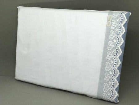 Travesseiro Anti Sufocante Bordado Inglês Renda Azul Diamante - ac Baby Ref05235 85u