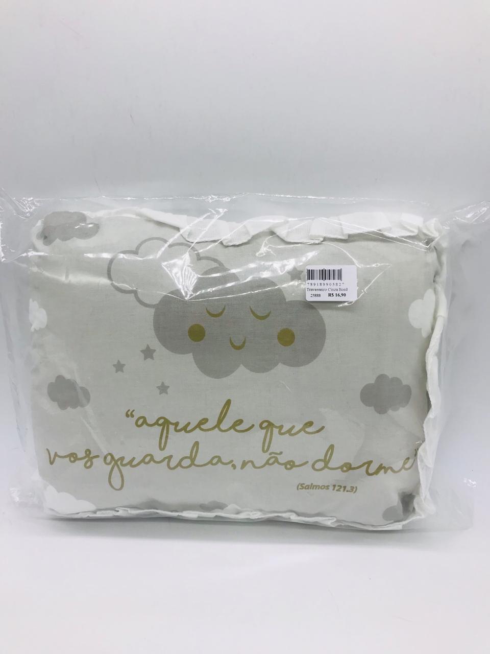 Travesseiro Cinza Bordado 28x35 - Alvinha Minasrey Ref 5827