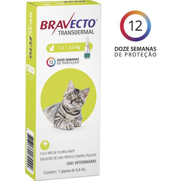 Antipulgas e Carrapatos MSD Bravecto Transdermal para Gatos de 1,2 a 2,8 Kg