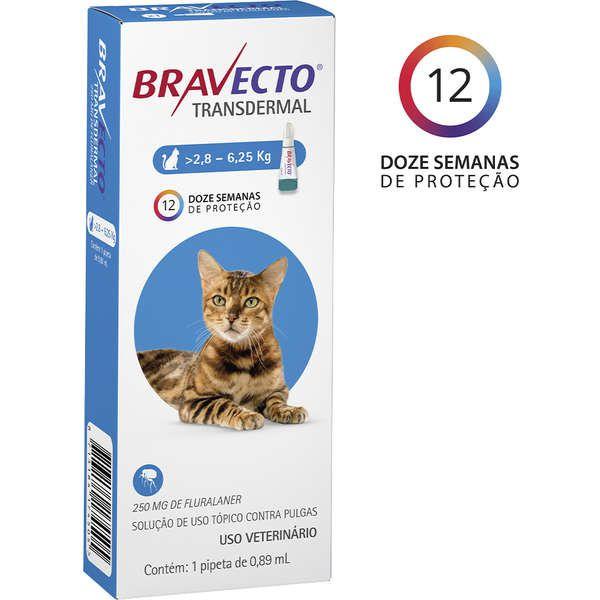 Antipulgas e Carrapatos MSD Bravecto Transdermal para Gatos de 2,8 a 6,25 Kg