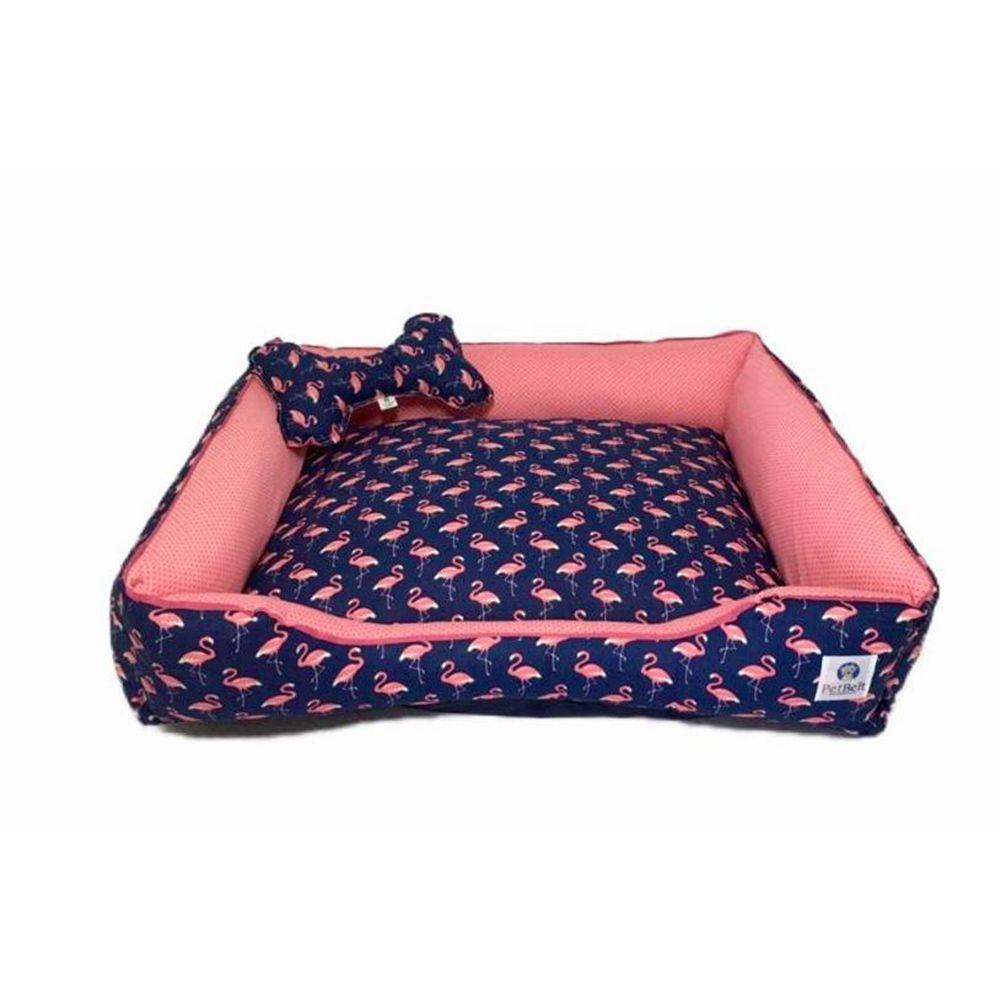 Cama Pet 100% algodão Cachorro Gato  c/ zíper - Tam G - Flamingo Blue