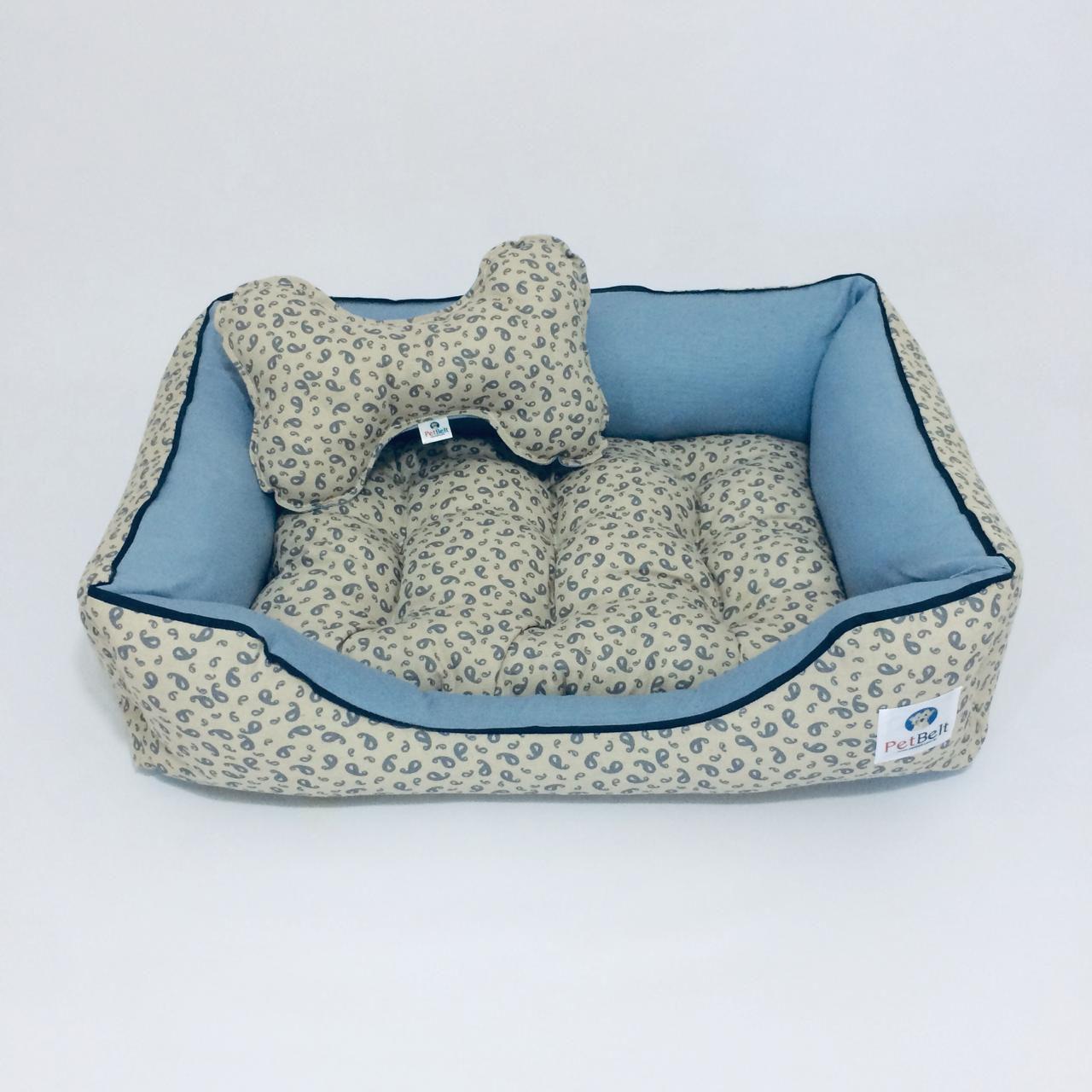 Cama Pet de Linho Cachorro Gato almofada removível c/ zíper - Tam M - Arabesco