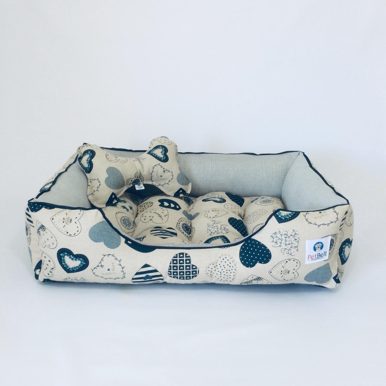 Cama Pet de Linho Cachorro Gato almofada removível c/ zíper - Tam M - Coração Blue