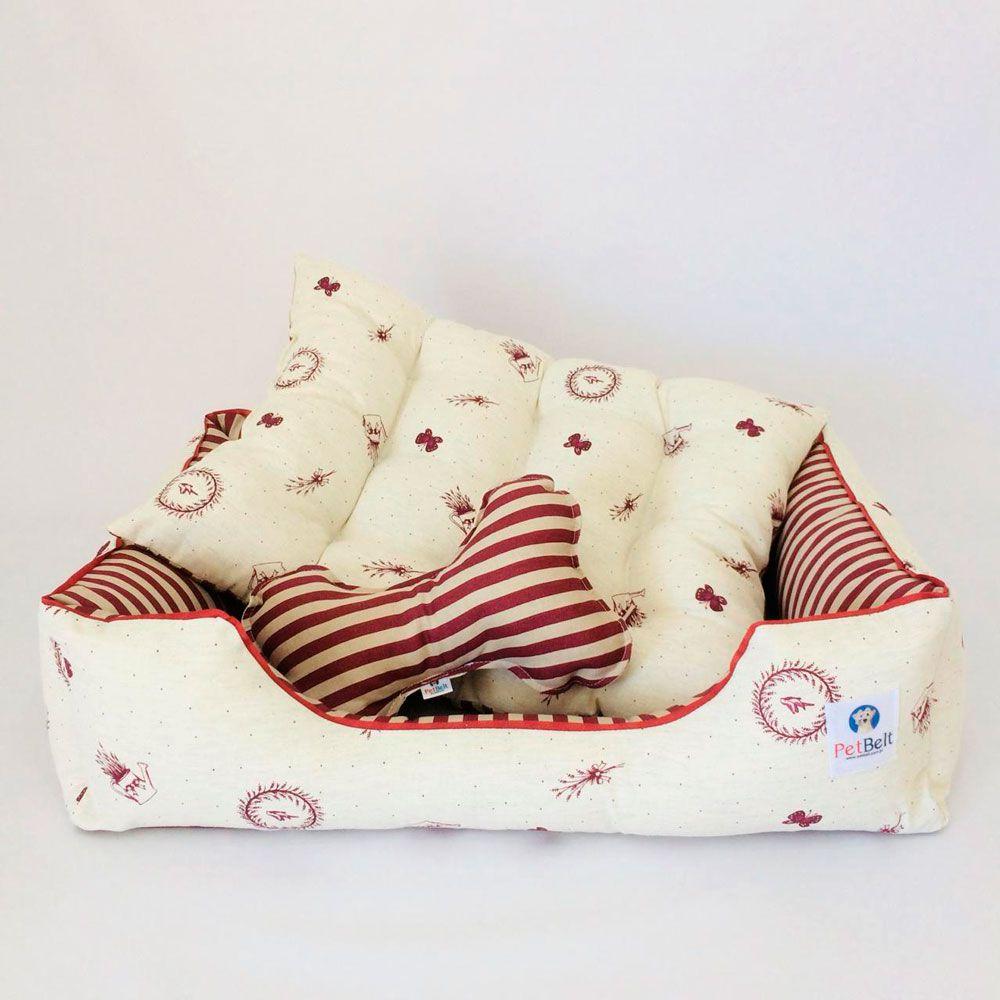 Cama Pet de Linho Cachorro Gato almofada removível c/ zíper - Tam M - Lê Petit