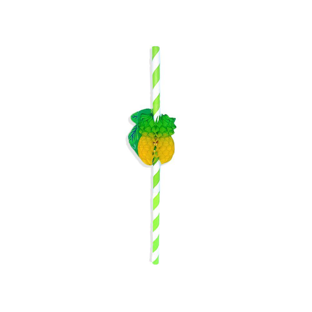 Canudo de Papel Biodegradavel para Festa 50 unidades Personalizado com Abacaxi Sanfonado