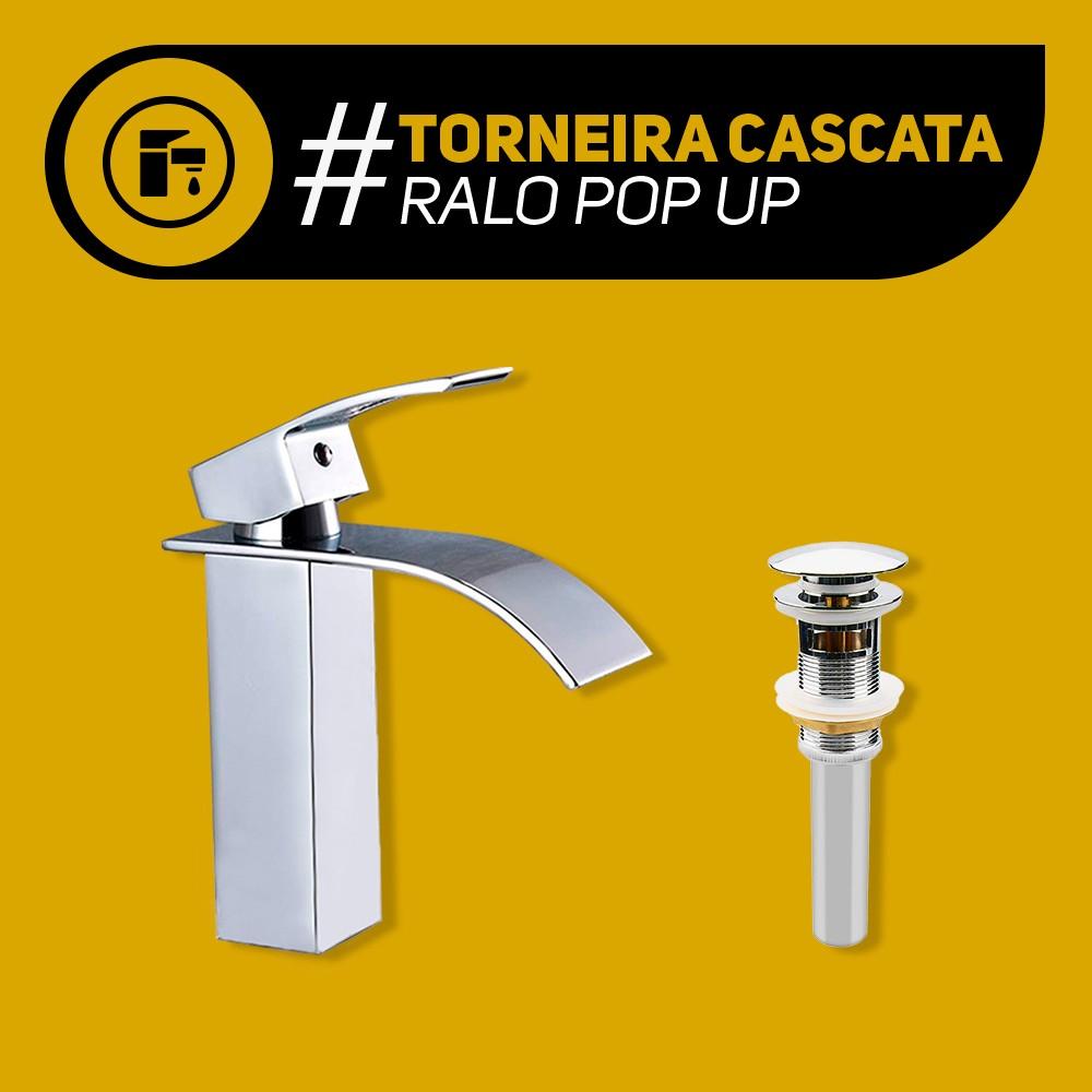 Kit 1 Torneira Para Banheiro Monocomando Misturador Cascata + 1 Ralo para Pia de Banheiro Click Pop Up