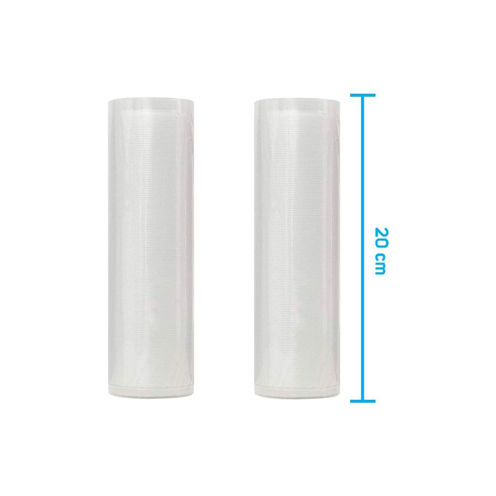 Kit 2 Rolos de Saco Plástico Bobina 20cm X 5m com Ranhuras para Seladoras a Vácuo
