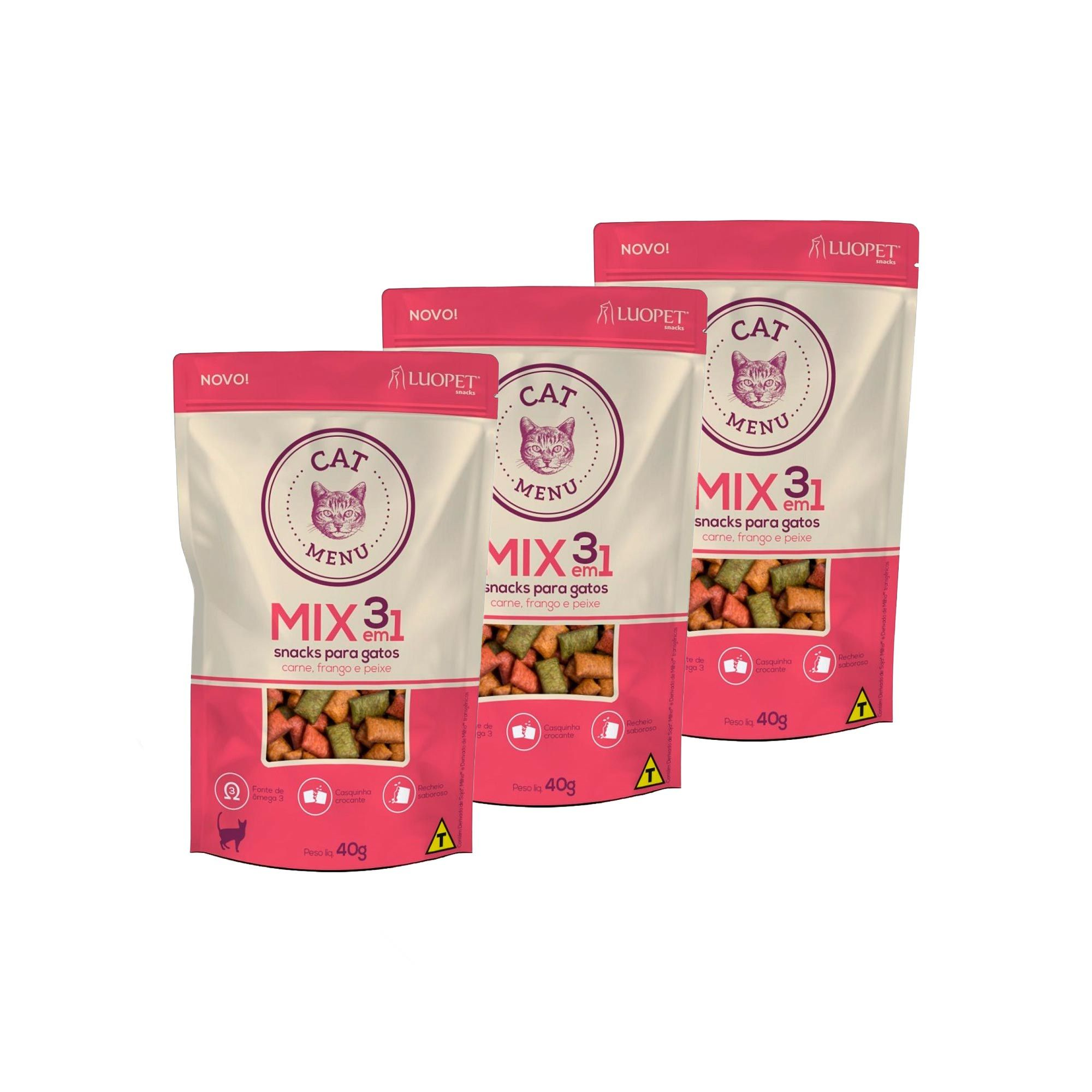 Kit 3 Petiscos Luopet Cat Menu Mix 3 em 1 para Gatos