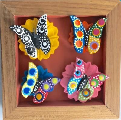 KIT 3 Quadros de decoração em Madeira com Borboletas. Quartos, varandas, salas, cozinha (6x6 cm).
