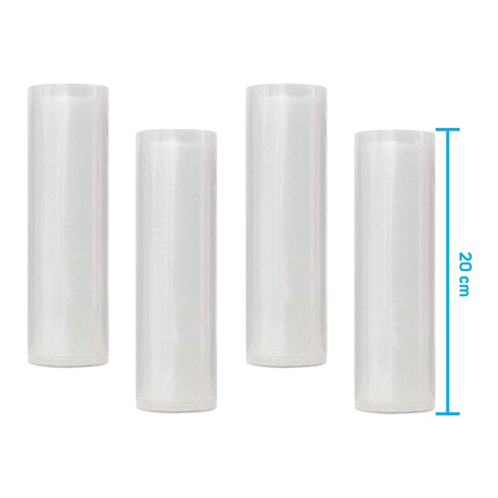 Kit 4 Rolos de Saco Plástico Bobina 20cm X 5m com Ranhuras para Seladoras a Vácuo