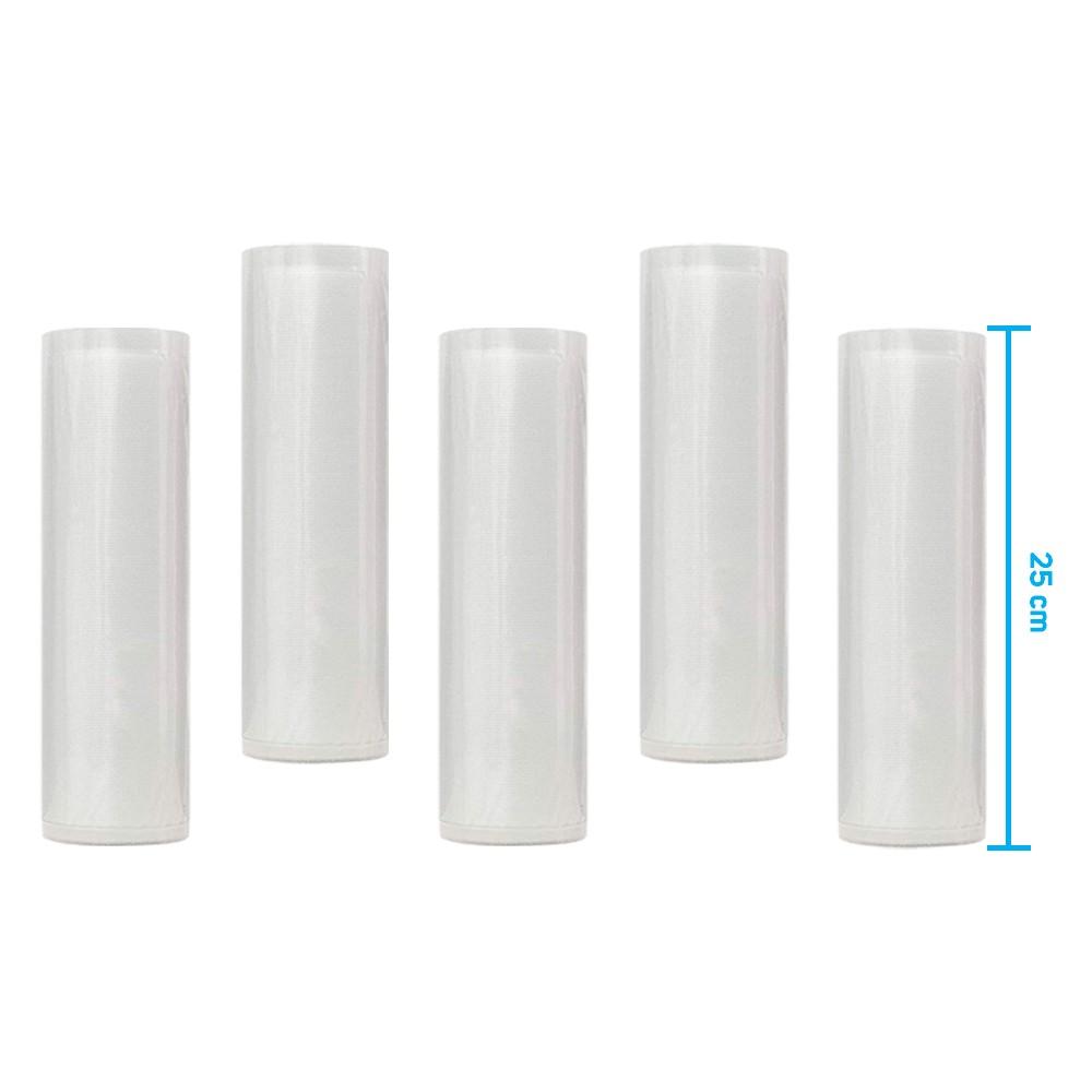Kit 5 Rolos de Saco Plástico Bobina 25cm X 5m com Ranhuras para Seladoras a Vácuo