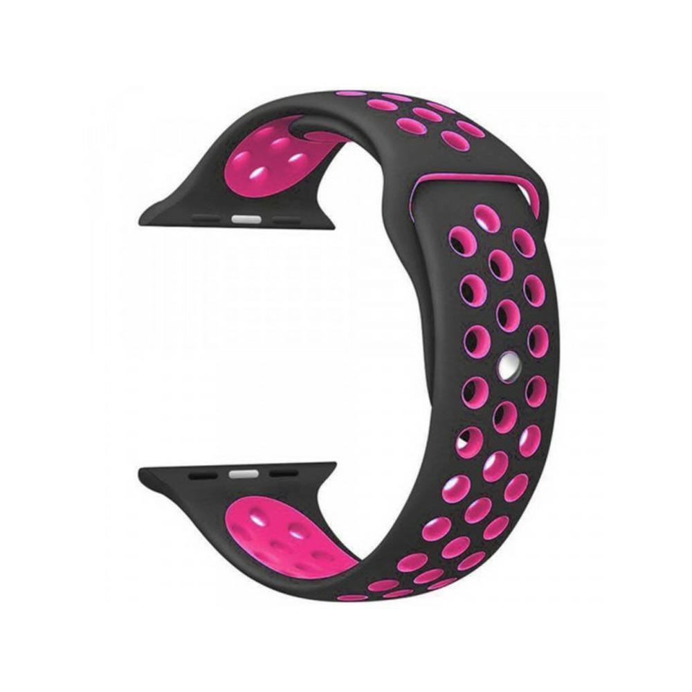 PULSEIRA Sport Silicone Nk Furo Para Smart Watch 1 2 3 4- 42/44 mm - Preto e Rosa