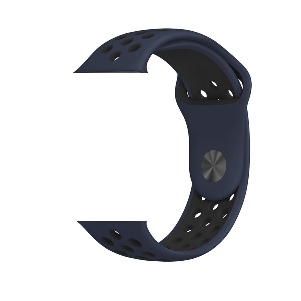 PULSEIRA Sport Silicone Nk Furo Para Smart Watch 1 2 3 4- 42/44mm - Azul e Preto