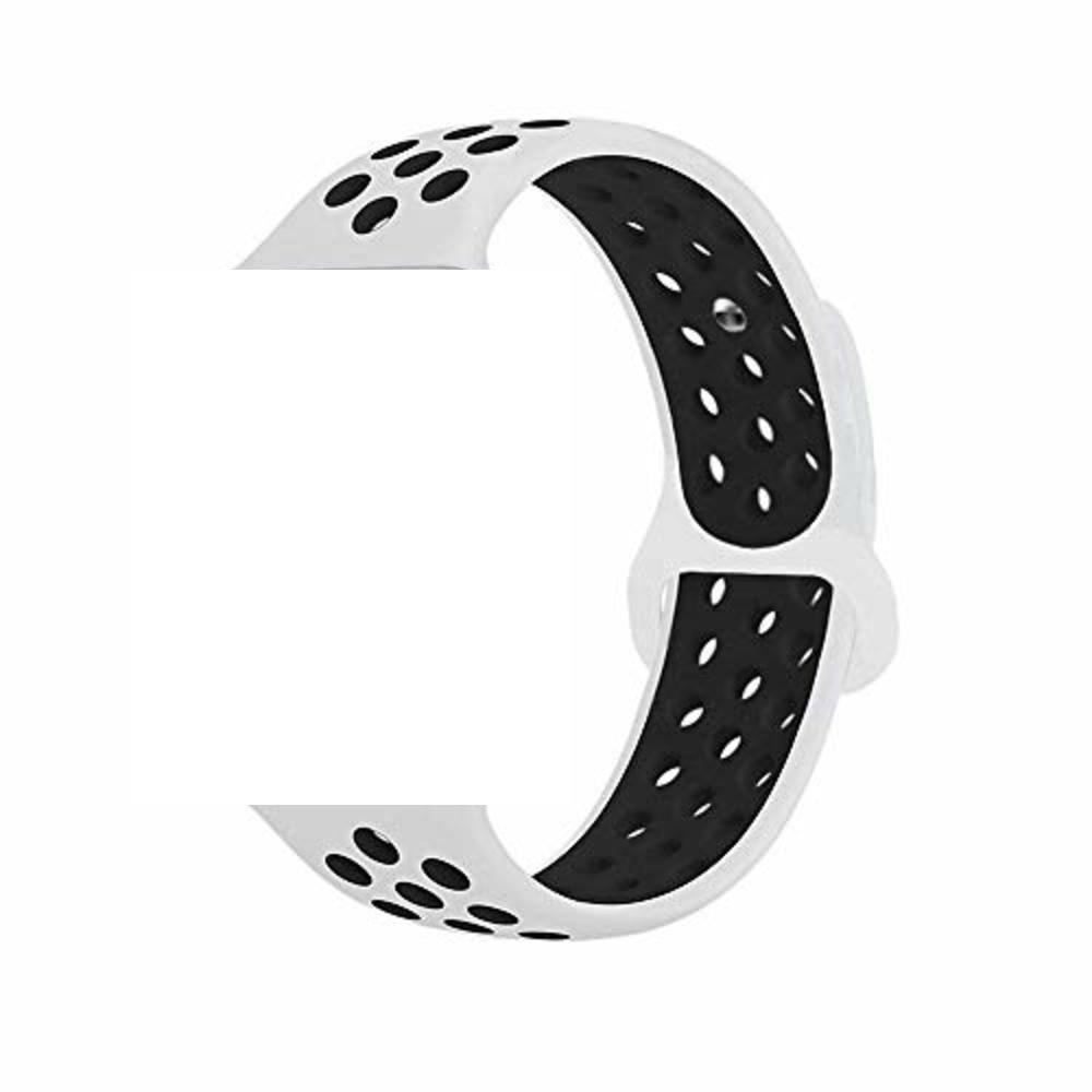 Pulseira Sport Silicone Nk Furo Para Smart Watch 1 2 3 4- 42/44mm - Branco e Preto