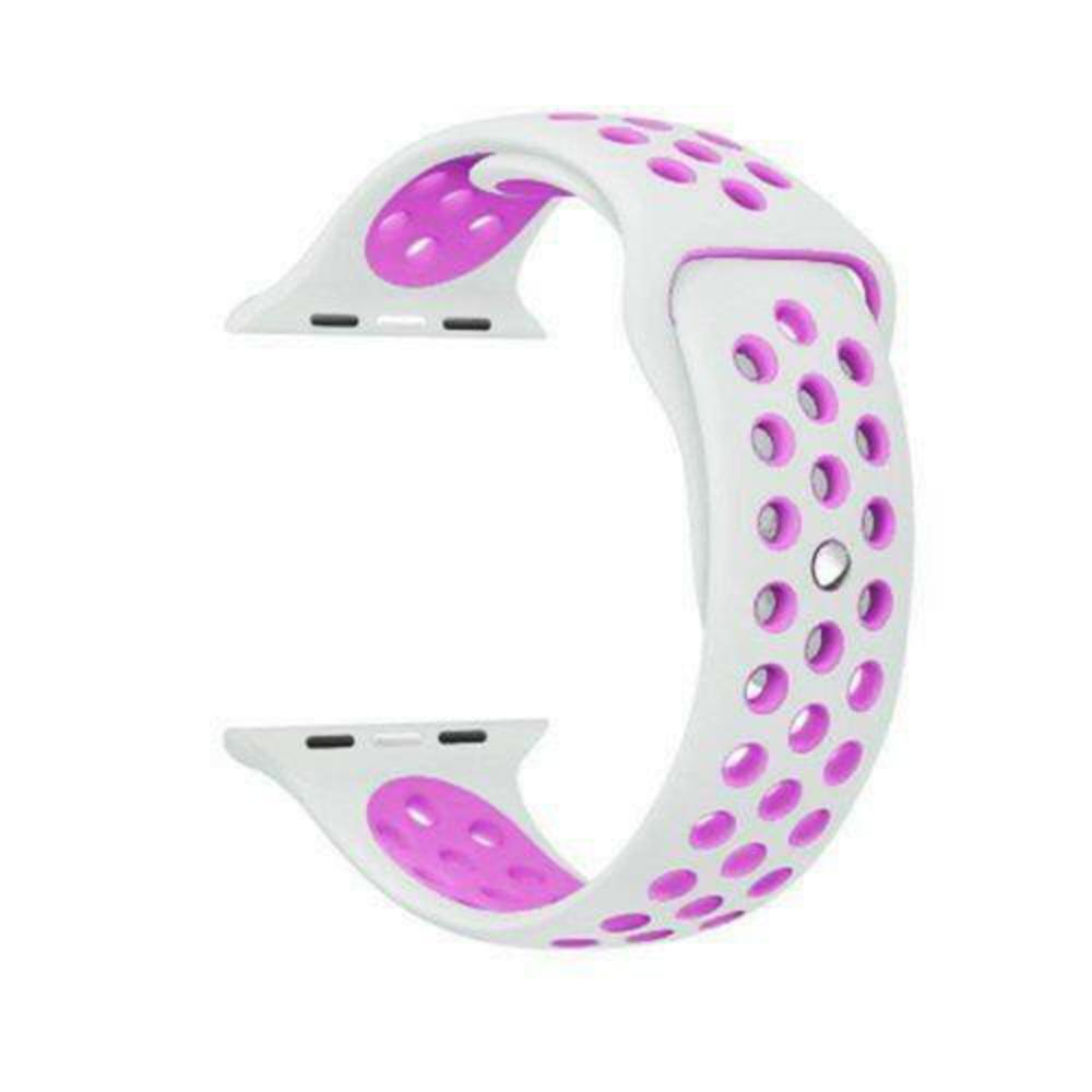 Pulseira Sport Silicone Nk Furo Para Apple Watch 1 2 3 4- 42/44mm - Branco e Roxo