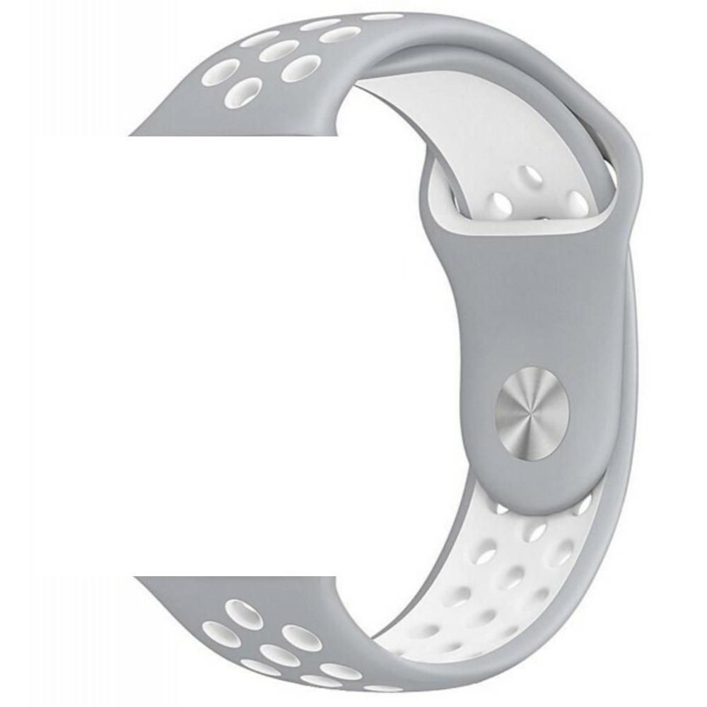 Pulseira Sport Silicone Nk Furo Para SMART Watch 1 2 3 4- 42/44mm - Cinza/Branco