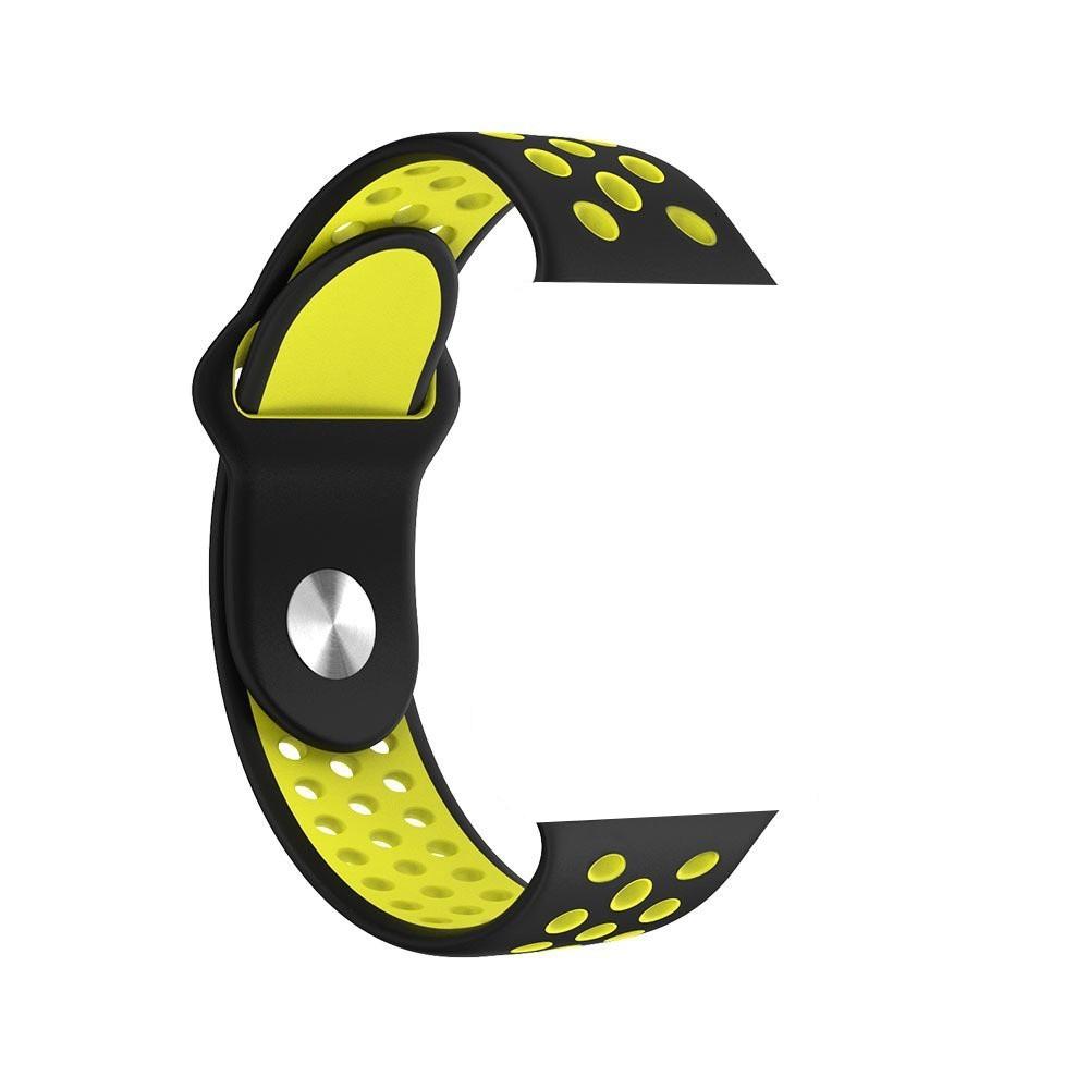 Pulseira Sport Silicone Nk Furo Para Smart Watch 1 2 3 4- 42/44mm - Preto e Amarelo