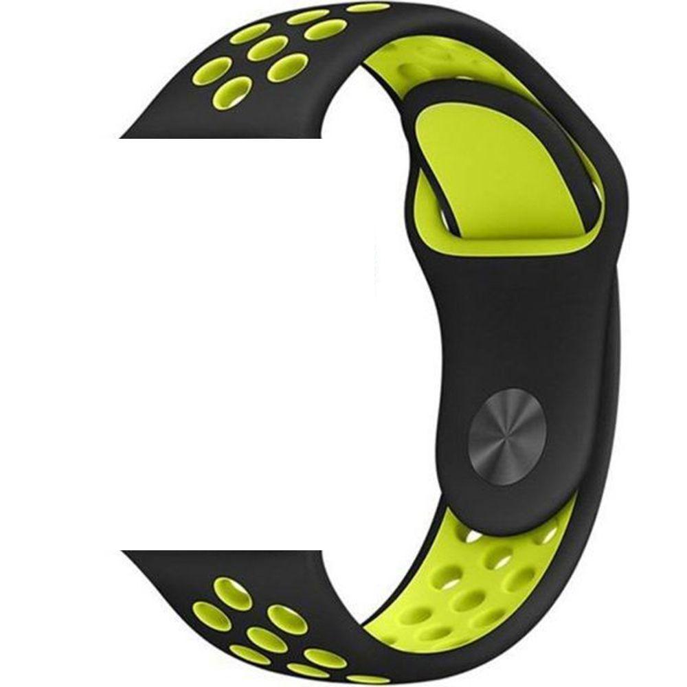 Pulseira Sport Silicone Nk Furo Para Apple Watch 1 2 3 4- 42/44mm - Preto e Verde Neon