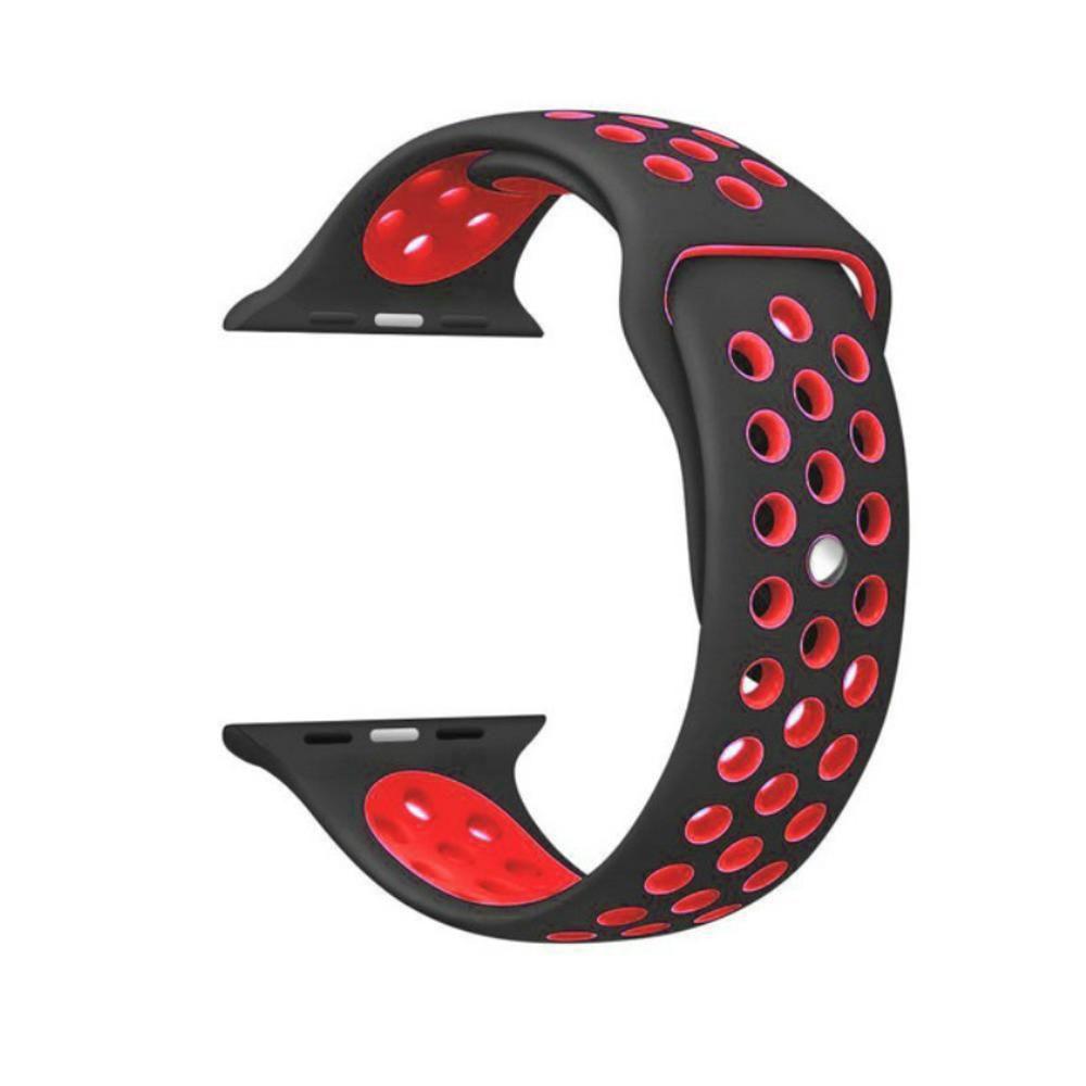 Pulseira Sport Silicone Nk Furo Para SMART Watch 1 2 3 4- 42/44mm - Preto e Vermelho