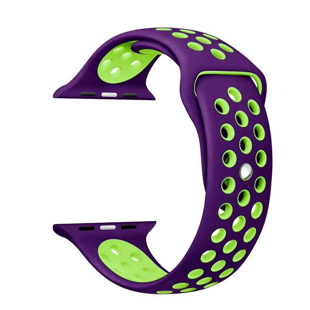 Pulseira Sport Silicone Nk Furo Para Smart Watch 1 2 3 4- 42/44mm - Roxo e Verde