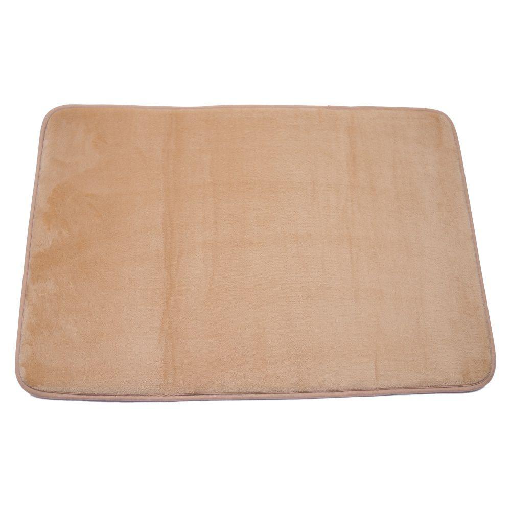 Tapete de Banheiro kit com 2 bege super soft com espuma viscoelastica
