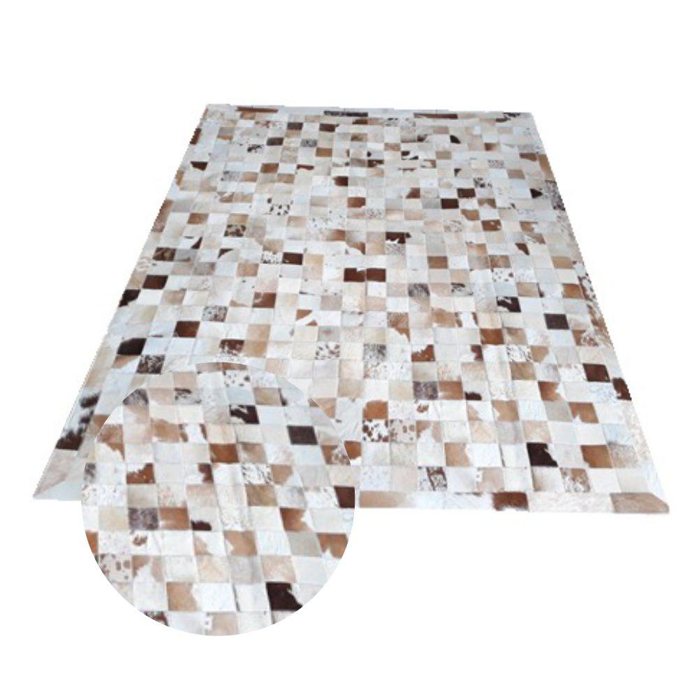 Tapete de Couro de Boi 2,0m X 1,5m Natural Costurado 10cm x 10cm Com Borda - OF31