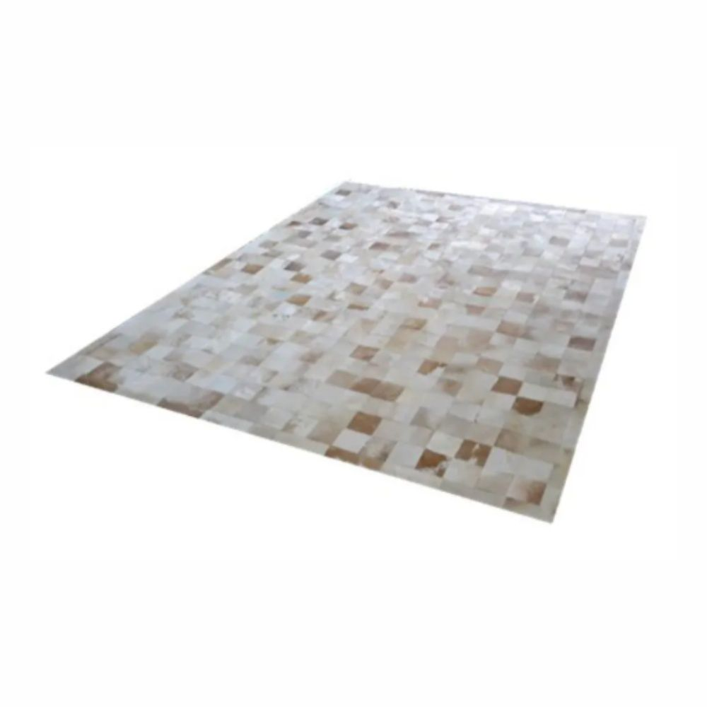 Tapete de Couro de Boi 2,0m X 1,5m Natural Costurado 10cm x 10cm Com Borda - OF28