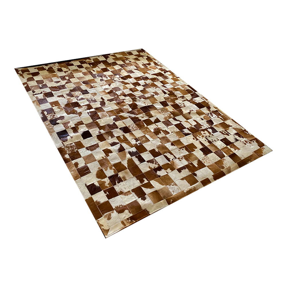 Tapete de Couro de Boi 2,5m X 2,0m Natural Costurado 10cm x 10cm Com Borda - OF14