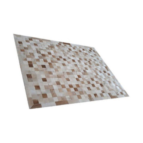 Tapete de Couro de Boi 2,5m X 2,0m Natural Costurado 10cm x 10cm Com Borda - OF35