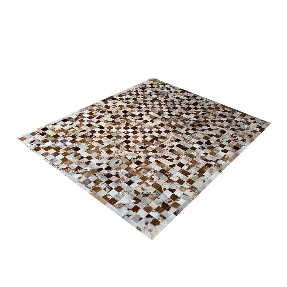 Tapete de Couro de Boi 2,5m X 2,0m Natural Costurado 7cm x 7cm Com Borda - OF01