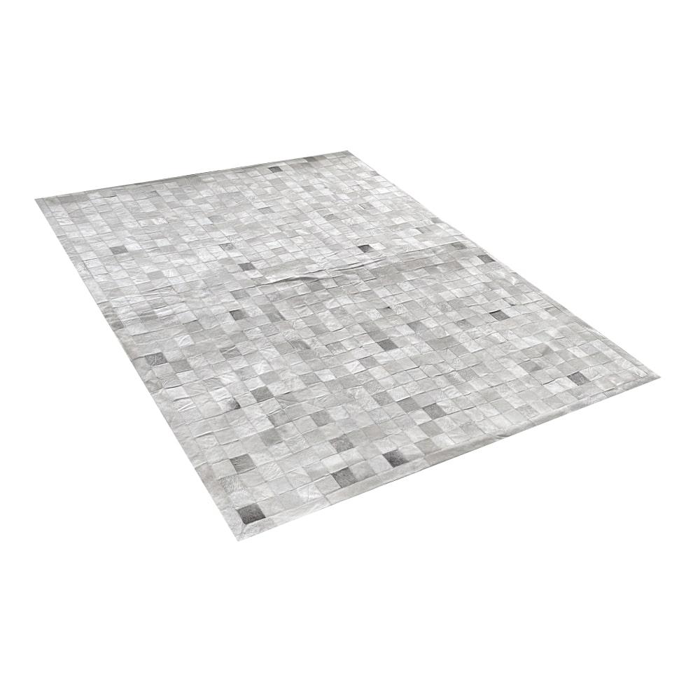 Tapete de Couro de Boi 2,5m X 2,0m Natural Costurado 7cm x 7cm Com Borda - OF05