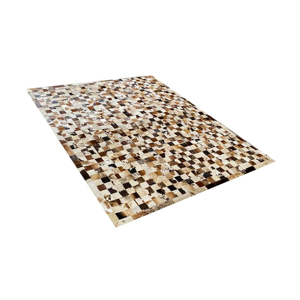 Tapete de Couro de Boi 2,5m X 2,0m Natural Costurado 7cm x 7cm Com Borda - OF29