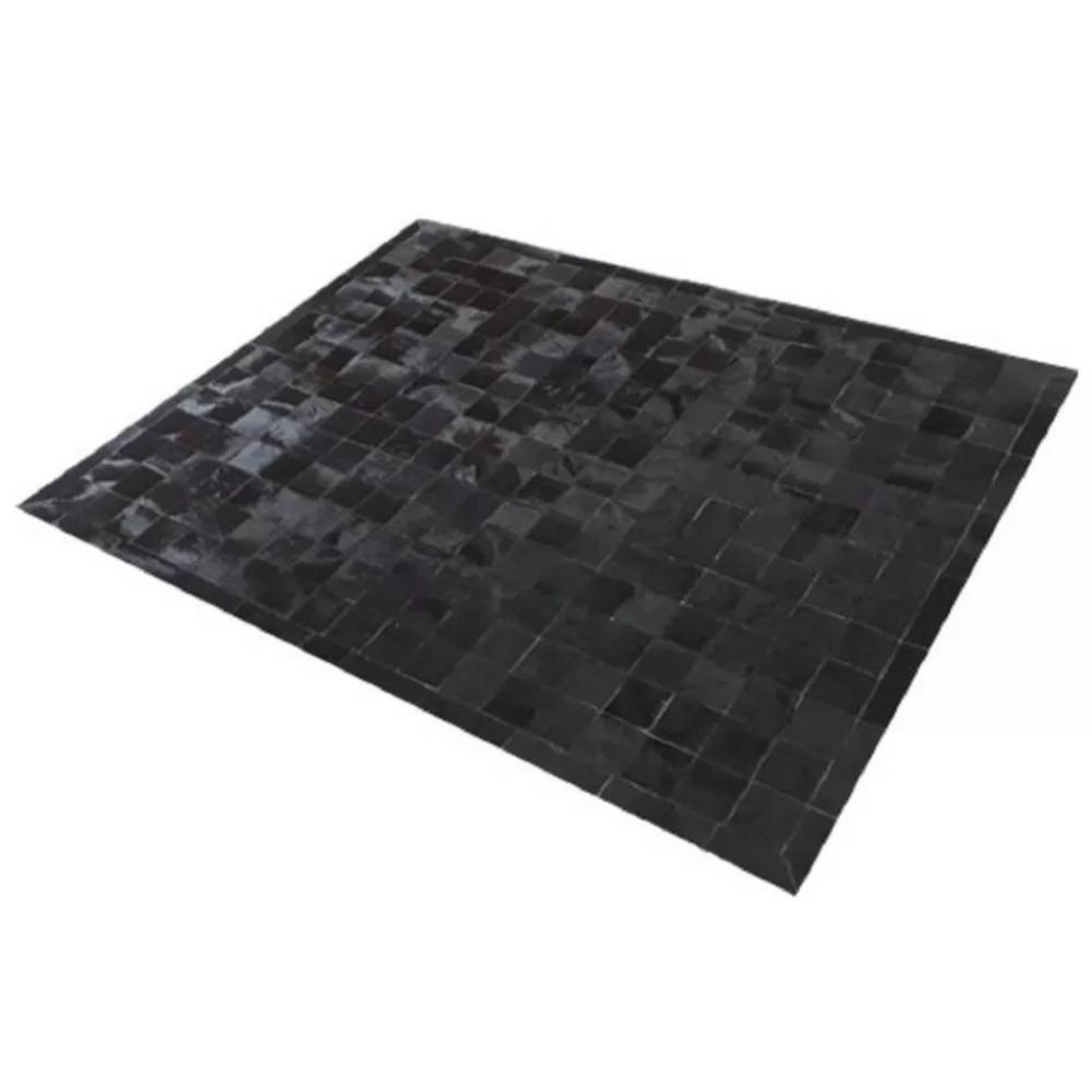 Tapete de Couro de Boi 2,5m X 2,0m Natural Costurado 7cm x 7cm Com Borda - OF32