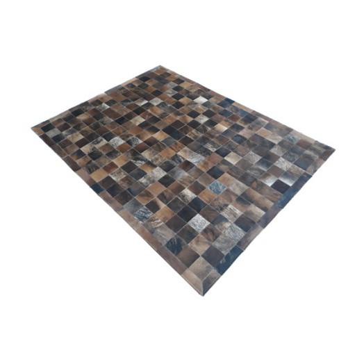 Tapete de Couro de Boi 2,5m X 2,0m Natural Costurado 10cm x 10cm Com Borda - ASV07