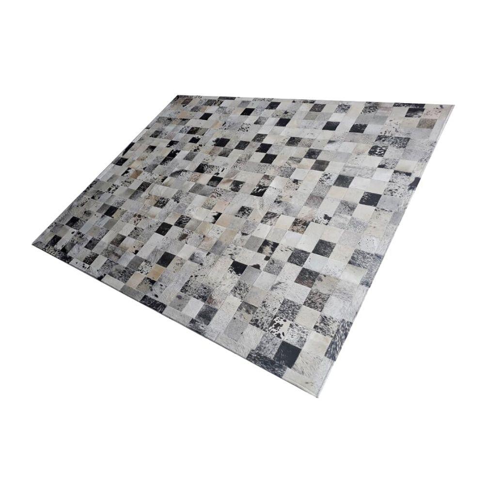 Tapete de Couro de Boi 2,5m X 2,0m Natural Costurado 10cm x 10cm Com Borda - ASV27
